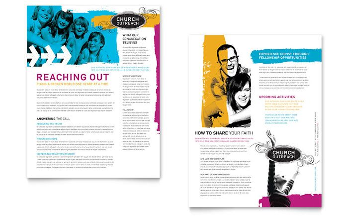 Church Outreach Ministries Datasheet Template Design  Church