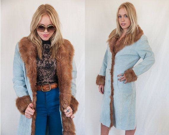 126937cd1be70 90s Baby Blue Suede and Faux Fur Trim Penny Lane Coat Size Small Medium |  Genuine Leather and Brown Fur Trim Coat | womens Vintage boho 70s