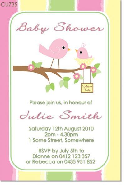 CU735 Little Bird Baby Shower Invitation Baby shower pajaritos