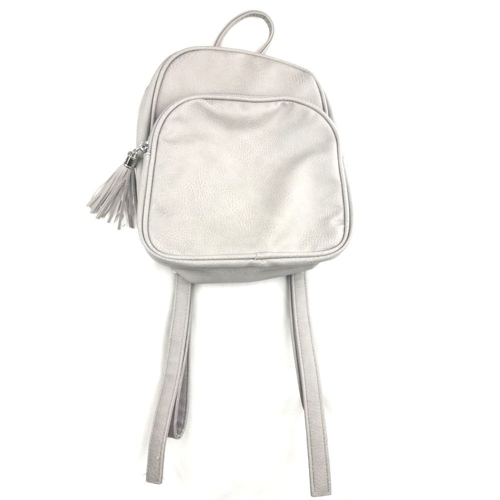 0990325173 No Boundaries Women s Mini Backpack Gray Faux Leather Silver Hardware  Tassel  NoBoundaries  Backpack