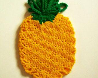 pineapple hot pad crochet pineapple fruit pot holder hot pad potholder handmade kitchen - Kitchen Hot Pads