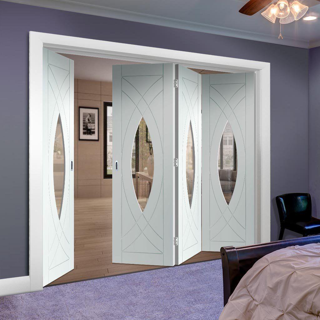 Bespoke thrufold treviso white primed glazed folding door
