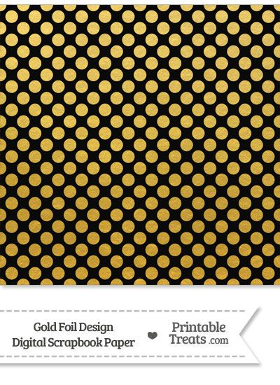 Black And Gold Foil Dots Digital Scrapbook Paper From
