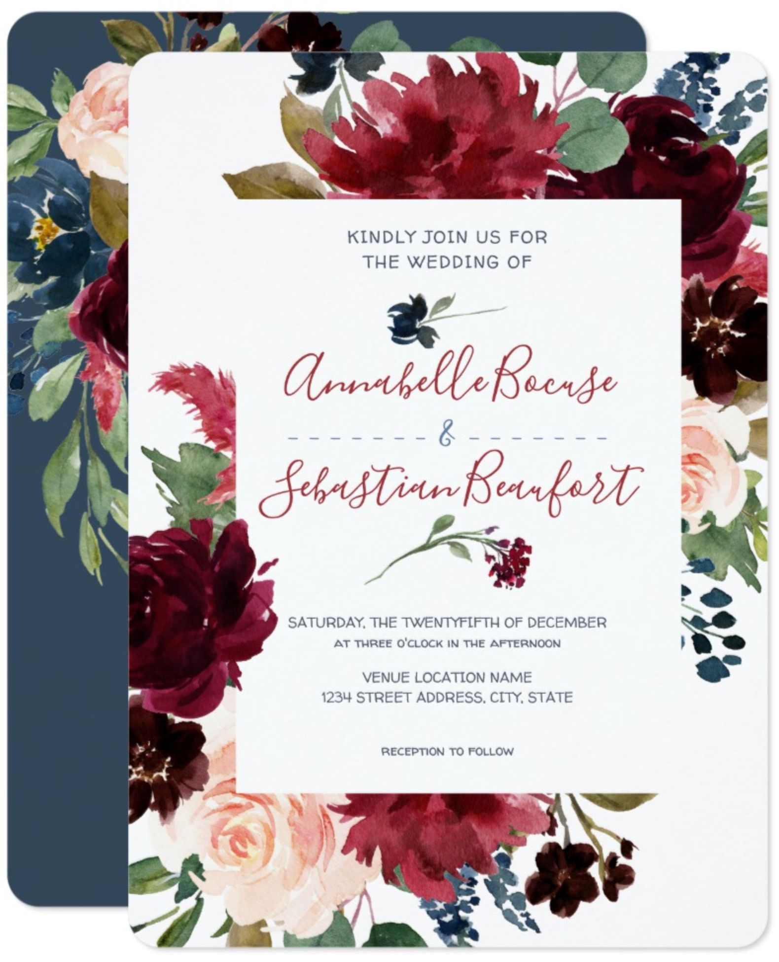 Burgundy Blue Floral Rustic Wedding Invitation Zazzle Com With