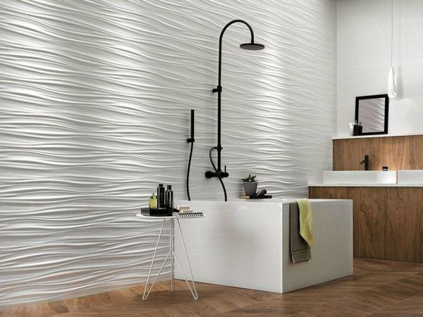 dcoration murale crative 3d salle de bains en cramique blanche parquet douche dans la baignoire