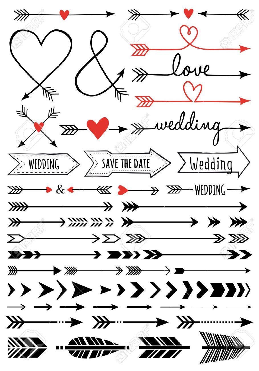 handgetekende bruiloft pijlen  set van vector design