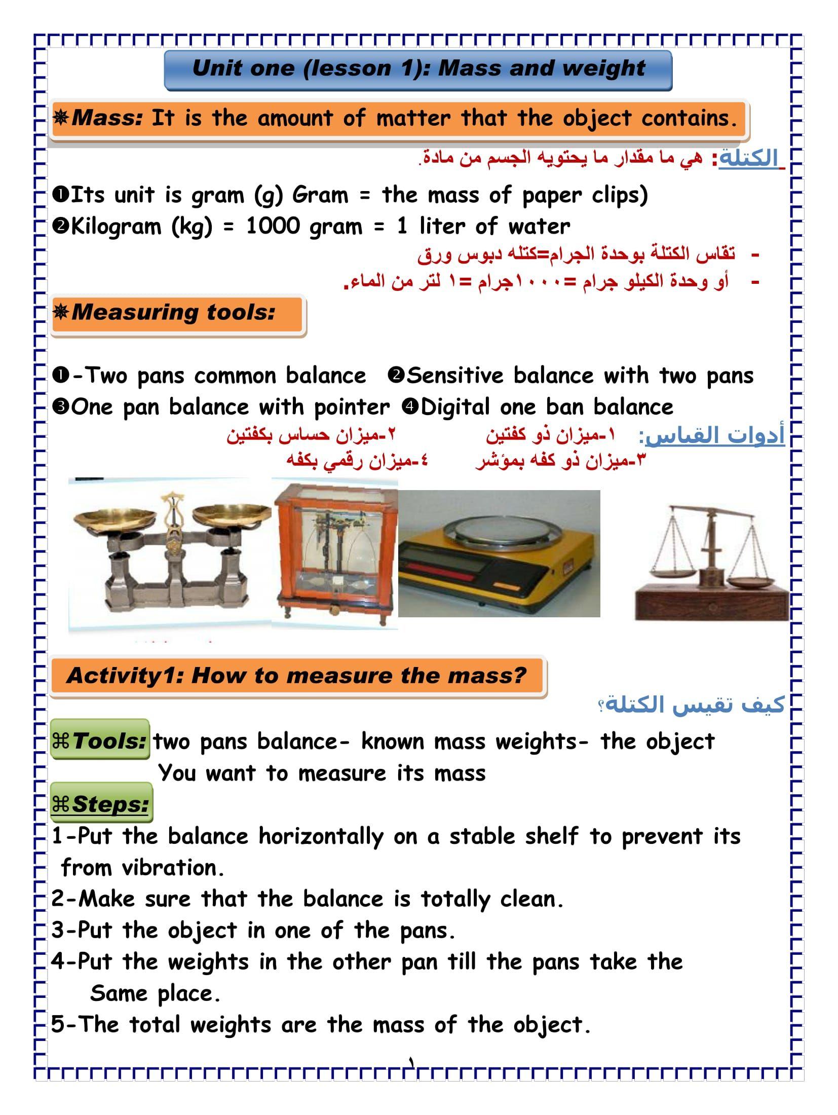مذكرة شرح بالالوان مترجمه فى Science للصف السادس الابتدائى اللغات الترم الاول Measuring Tools Lesson The Unit