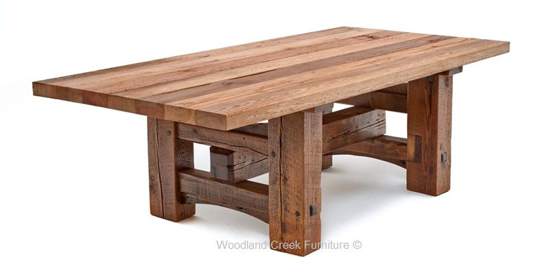 Reclaimed Beam Dining Table, Aged Timber Table, Barnwood