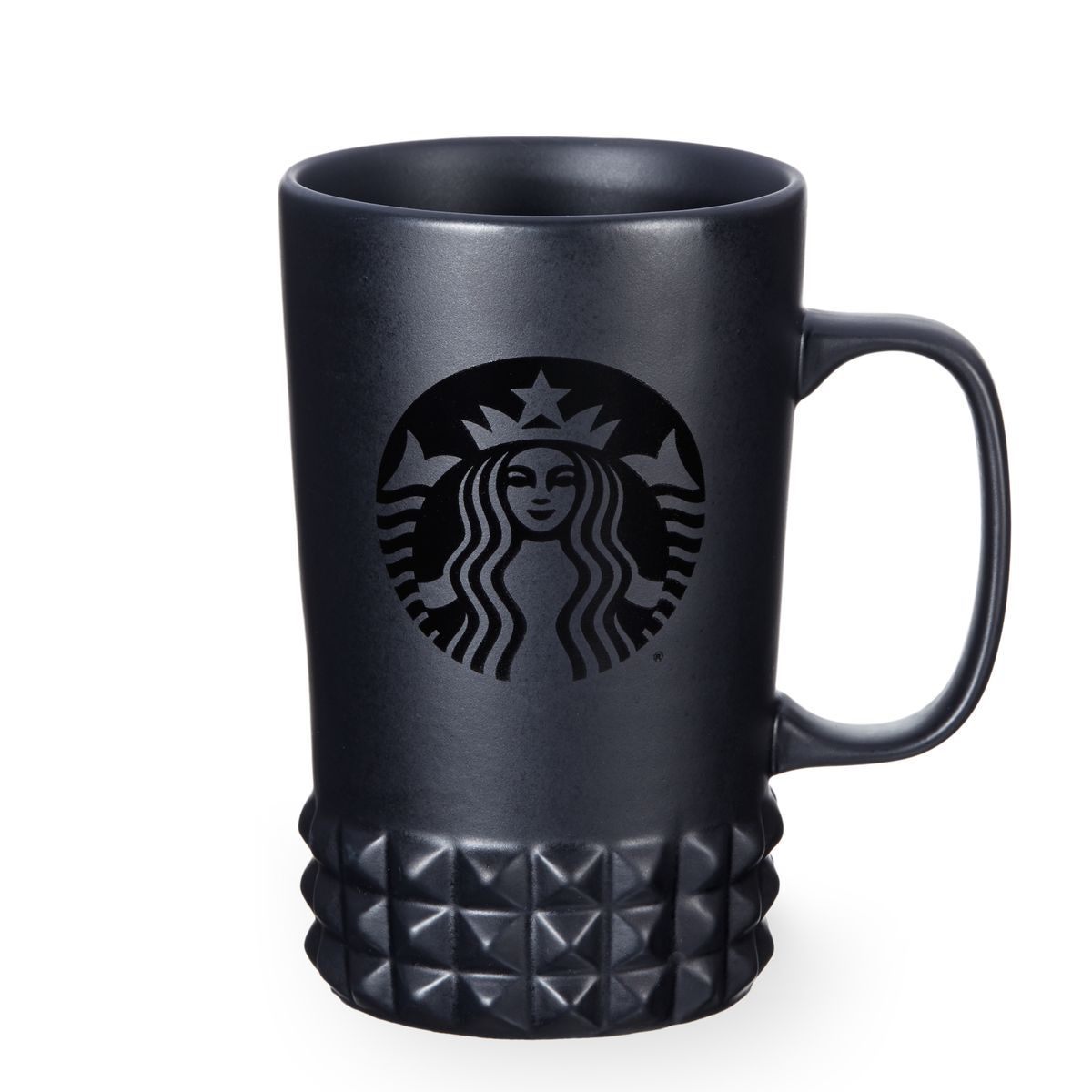 A Ceramic Coffee Mug With A Matte Black Body And Studded