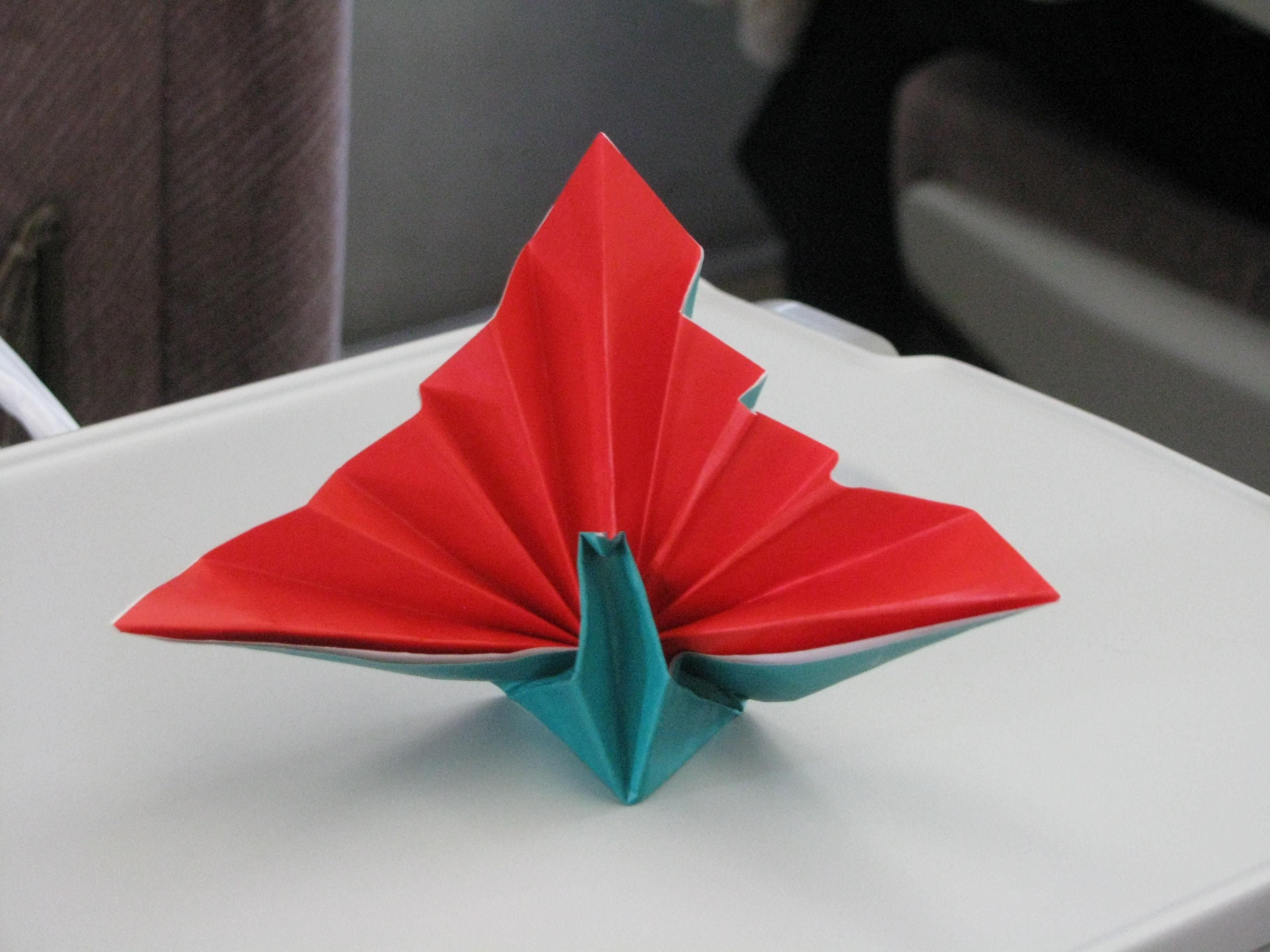 A Nice Little Lady Was Practicing Origami On A Long Train Ride From Tokyo To Himeji She Gave Us This Beautiful Bird A Wonde Bird Beautiful Birds Train Rides