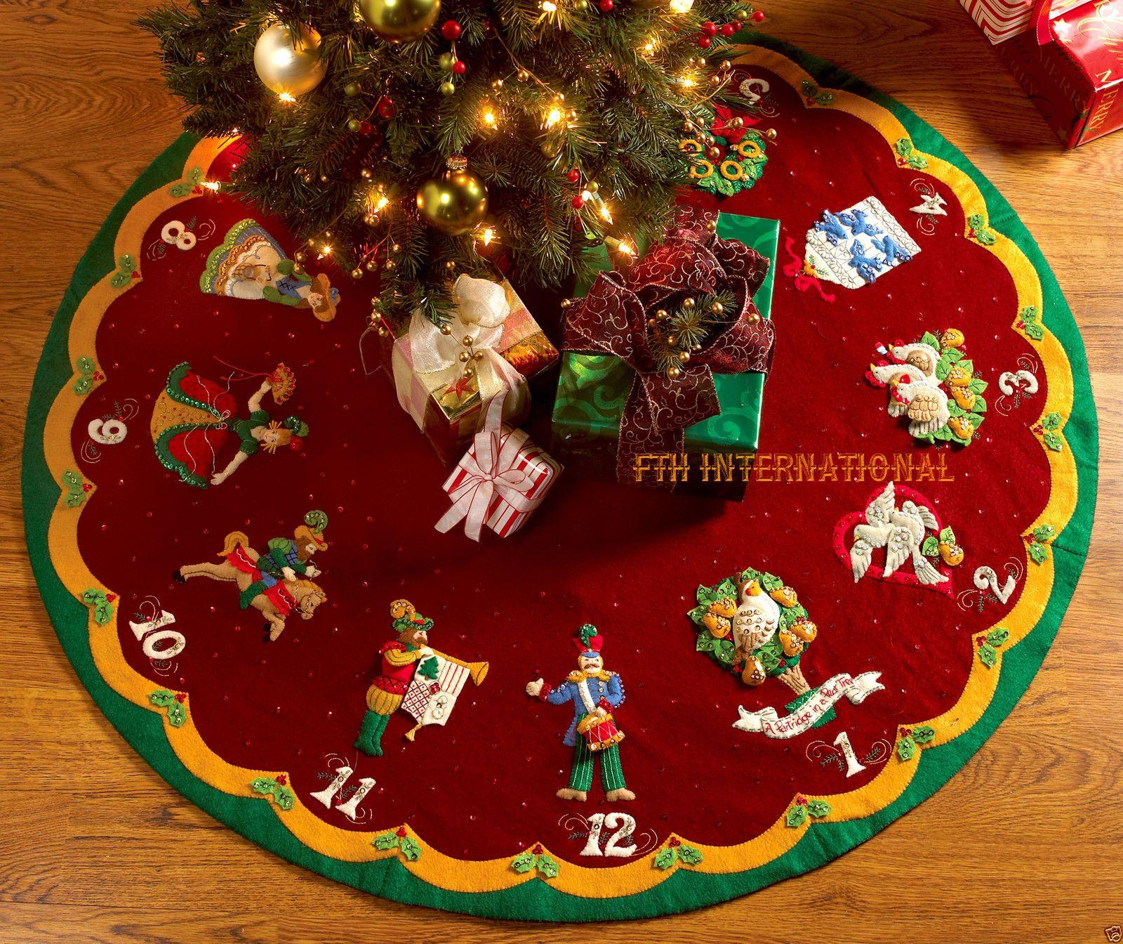 Bucilla 12 Days Of Christmas 43 Felt Tree Skirt Kit 86068 Partridge Pear Tree Felt Tree Skirt Felt Tree Felt Christmas Tree