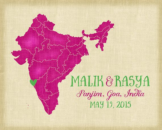 Map Of India Personalized Wedding Gift Goa Mumbai Chennai Where We Met Anniversary Gift For Husband Indian Wedding Colorful Colors