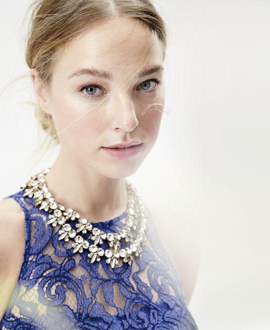 Weddings Parties J Crew Women S Pamela Dress In Leavers Lace And Fleur De Lis Crystal Necklace