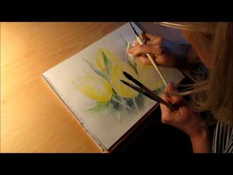 Aquarell Gelbe Tulpen Tutorial Teil 1 Youtube Watercolor