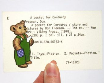 Corduroy Bear on Library Card - Print of painting of bear on library card catalog card for the book A Pocket for Corduroy