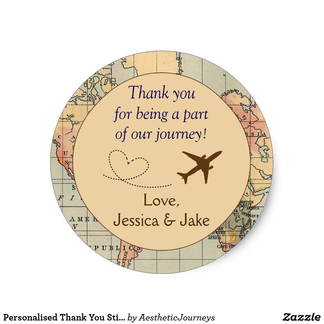 personalised thank you stickers- wedding favors classic round