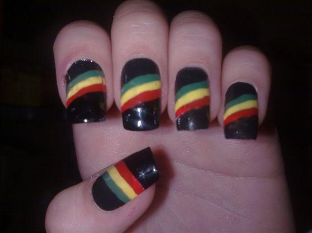 rasta nail | Rasta stripe - Nail Art Gallery