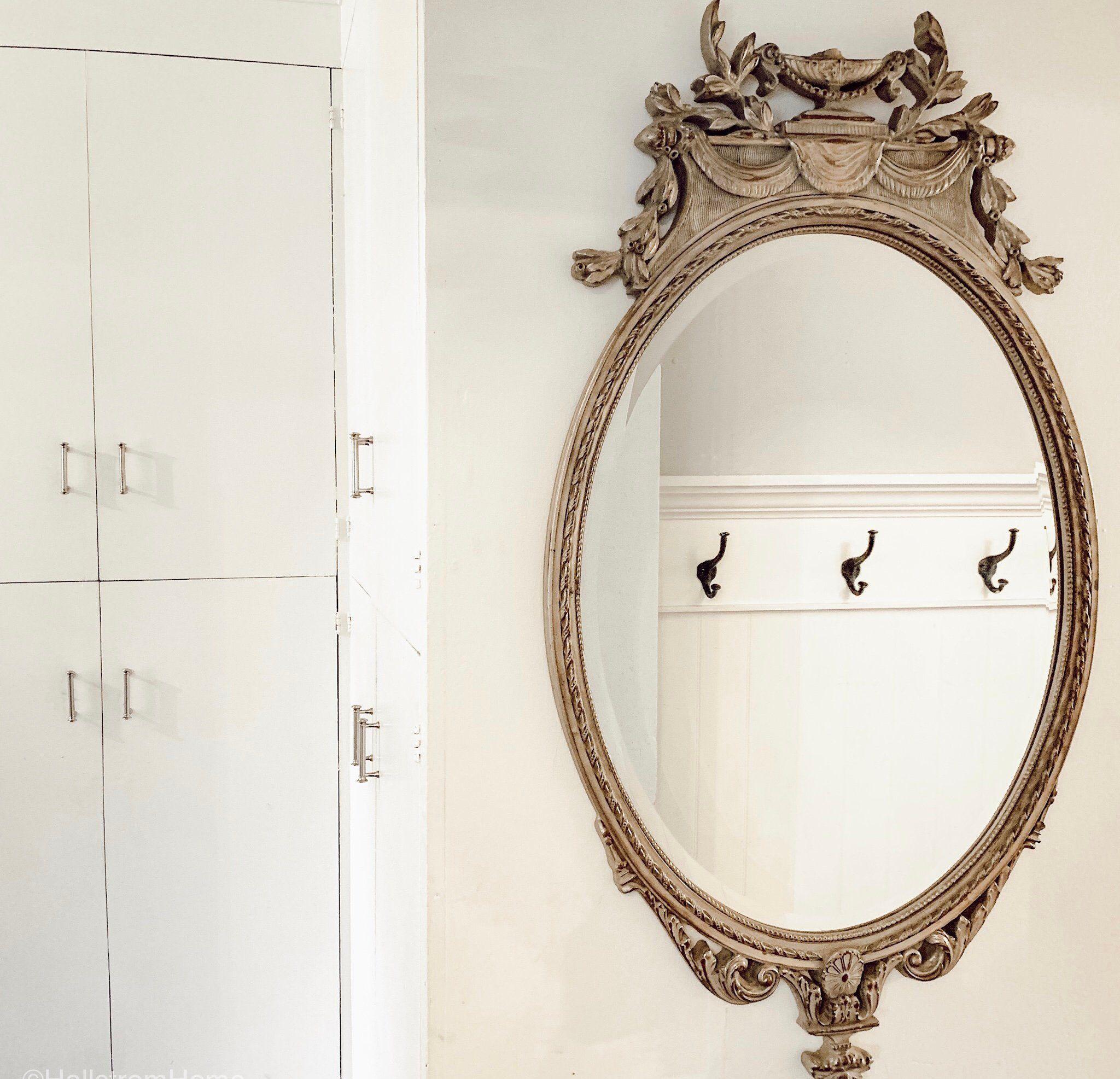 Large Oval Ornate Mirror, Farmhouse Wall Decor, Wall