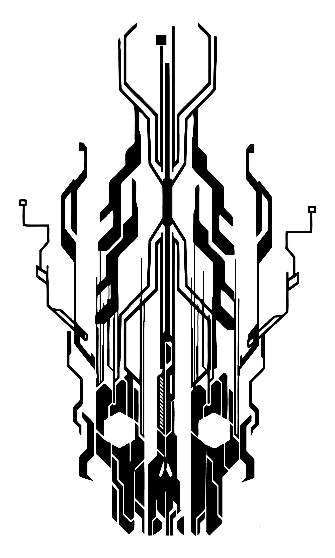 Digital Flaming Cyber Skull By Neogzus Tattoo Apprenticeship Electric Circuit Symbol Element Set Illustration Vectorielle Libre De