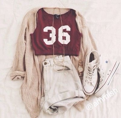 | Maroon Graphic Muscle Tank | High Waisted Denim Shorts | Creme Colored Cardigan | White High Top Converse | Gold Long Chain Necklace |