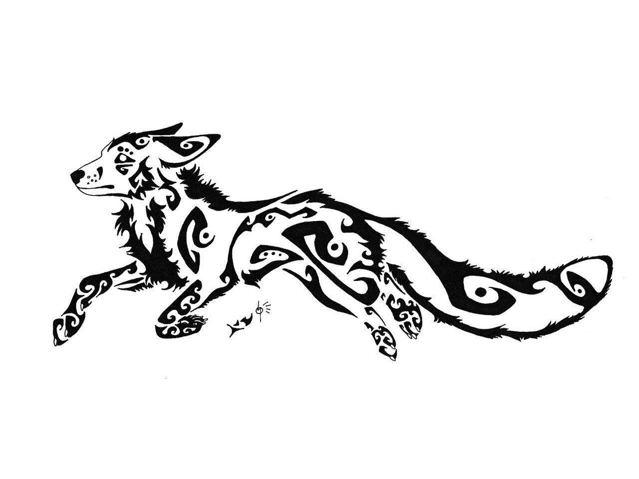 Line Drawing Fox : Tribal fox tattoo wallpaper tattoos pinterest