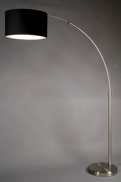 vloerlamp 30010: modern, staal , rvs, stof, zwart, rond ...