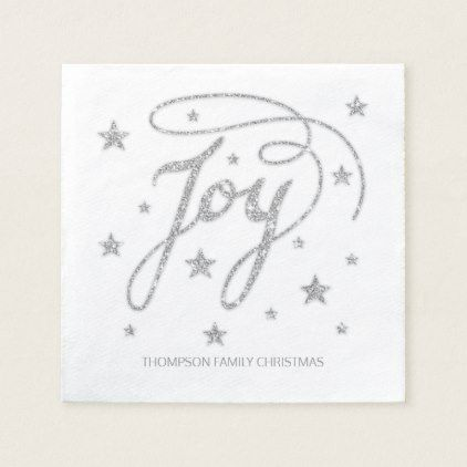 JOY Text Faux Silver Glitter Look & Custom Title Paper Napkin - faux gifts style sample design cyo