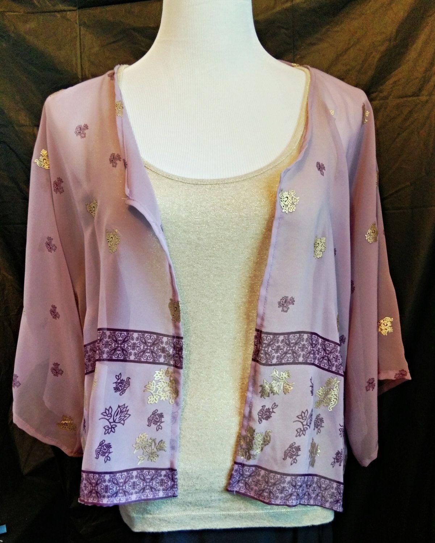Women's Clothing, Purple Cropped Kimono Cardigan, Chiffon Kimono ...