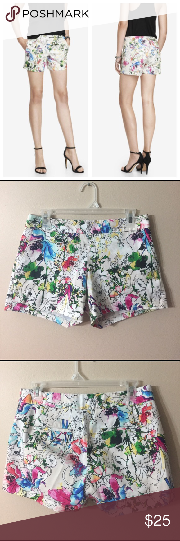 "EXPRESS 4 1/2 Inch Floral Stretch Cotton Shorts EUC!! Classic cut, woven stretch cotton shorts with side zipper closure. Printed with sketched flower blooms and randomly colored areas. Has functional front pockets and back welt pockets (still stitched close.) laid flat waist measures 15.5"". Express Shorts"
