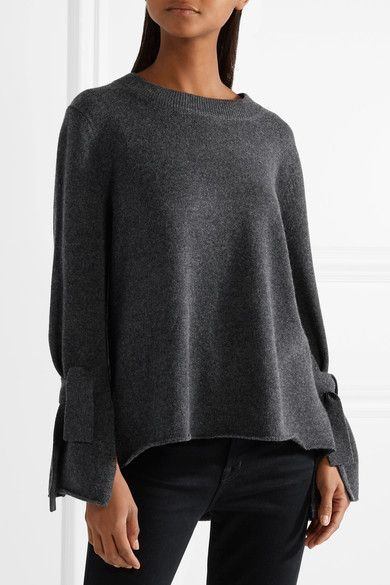 Allude - Tie-embellished Wool And Cashmere-blend Sweater - Charcoal |  Cashmere and Products