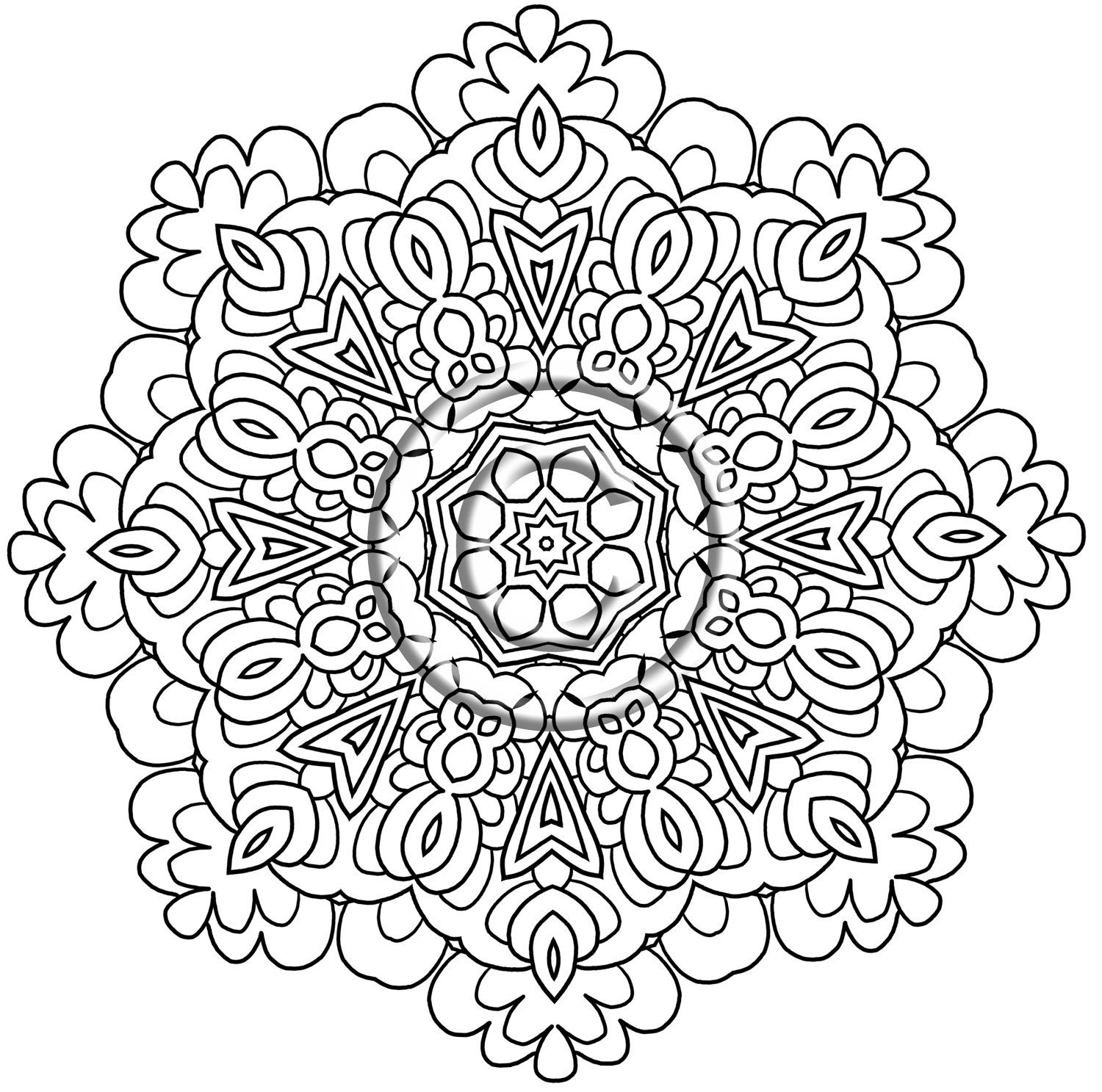 instant pdf download coloring page hand drawn zentangle inspired enjoy kaleidoscope mandala