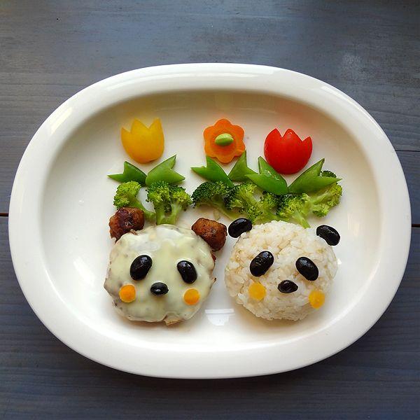 Panda hamburg dinner   Panda food. Cute food. Fun kids food