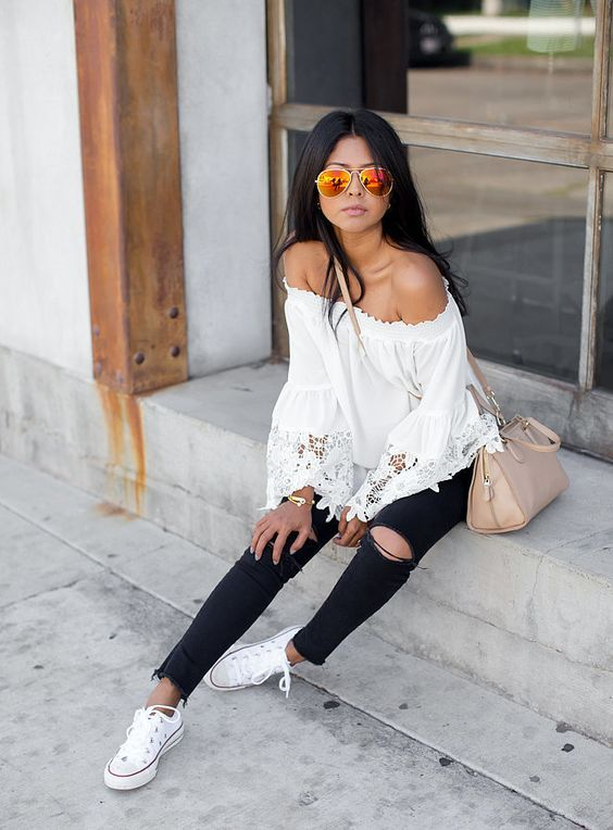 a19f87966 mirrored orange glasses white shoes converse black ripped jeans and off  shoulder white top