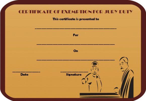 Jury Duty Certificate of Exemption | Jury Duty Certificate of ...