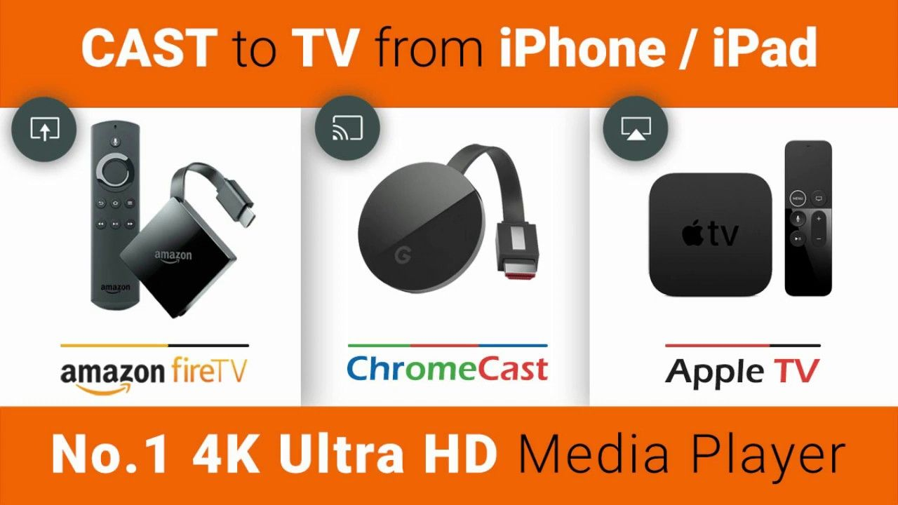 Play from iPhone/iPad to Apple TV , Chromecast ,Fire TV