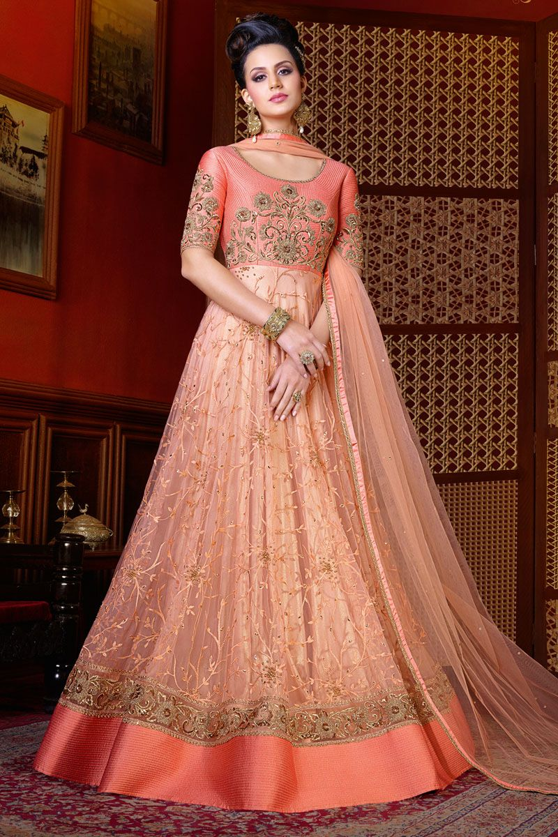 Peach Heavy Embroidered Indian Women Traditional Net Fabric Wedding