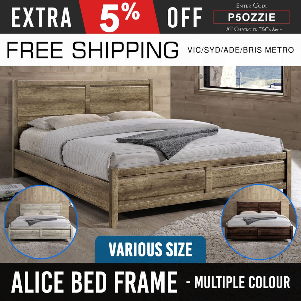 Bed Frame King Queen Double Base Mattress Bedroom Furniture Oak