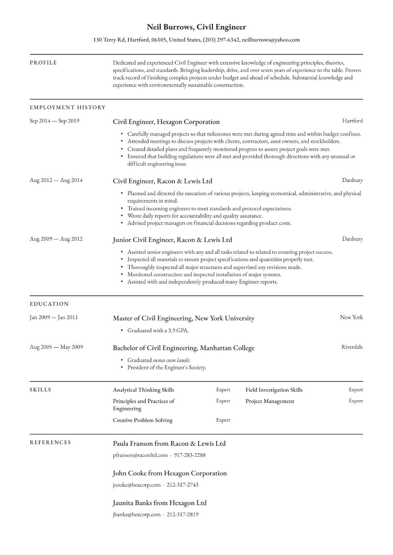 Civil Engineer Resume Examples Writing Tips 2020 Free Guide Resume Io In 2020 Engineering Resume Civil Engineer Resume Engineering Resume Templates