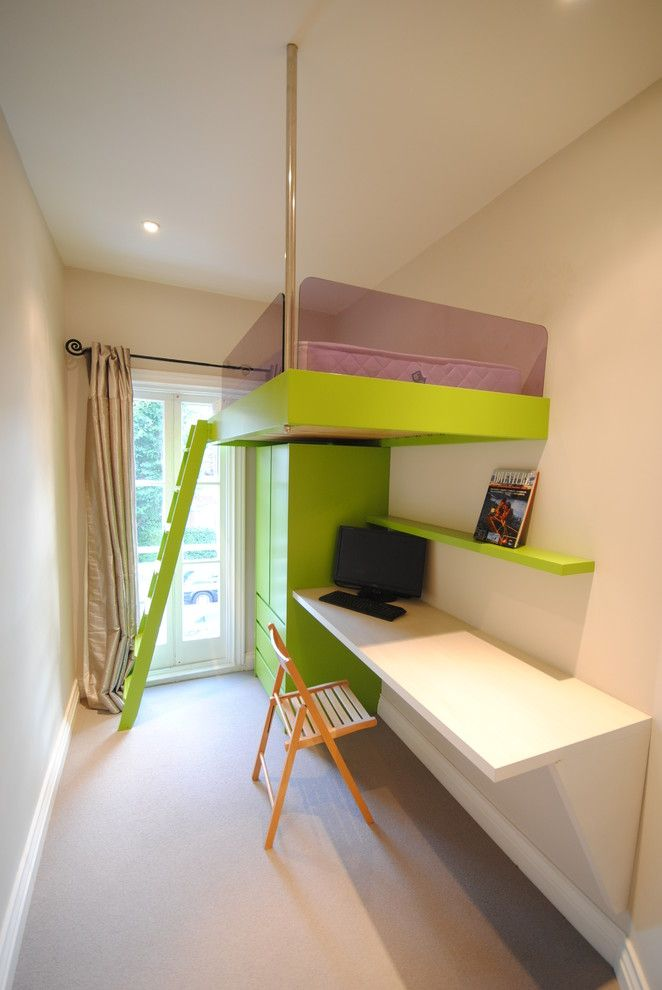 Astounding Space Saving Kids Furniture Ideas In Kids Contemporary Design  Ideas With Beige Curtains Box Room Bright Lime Green