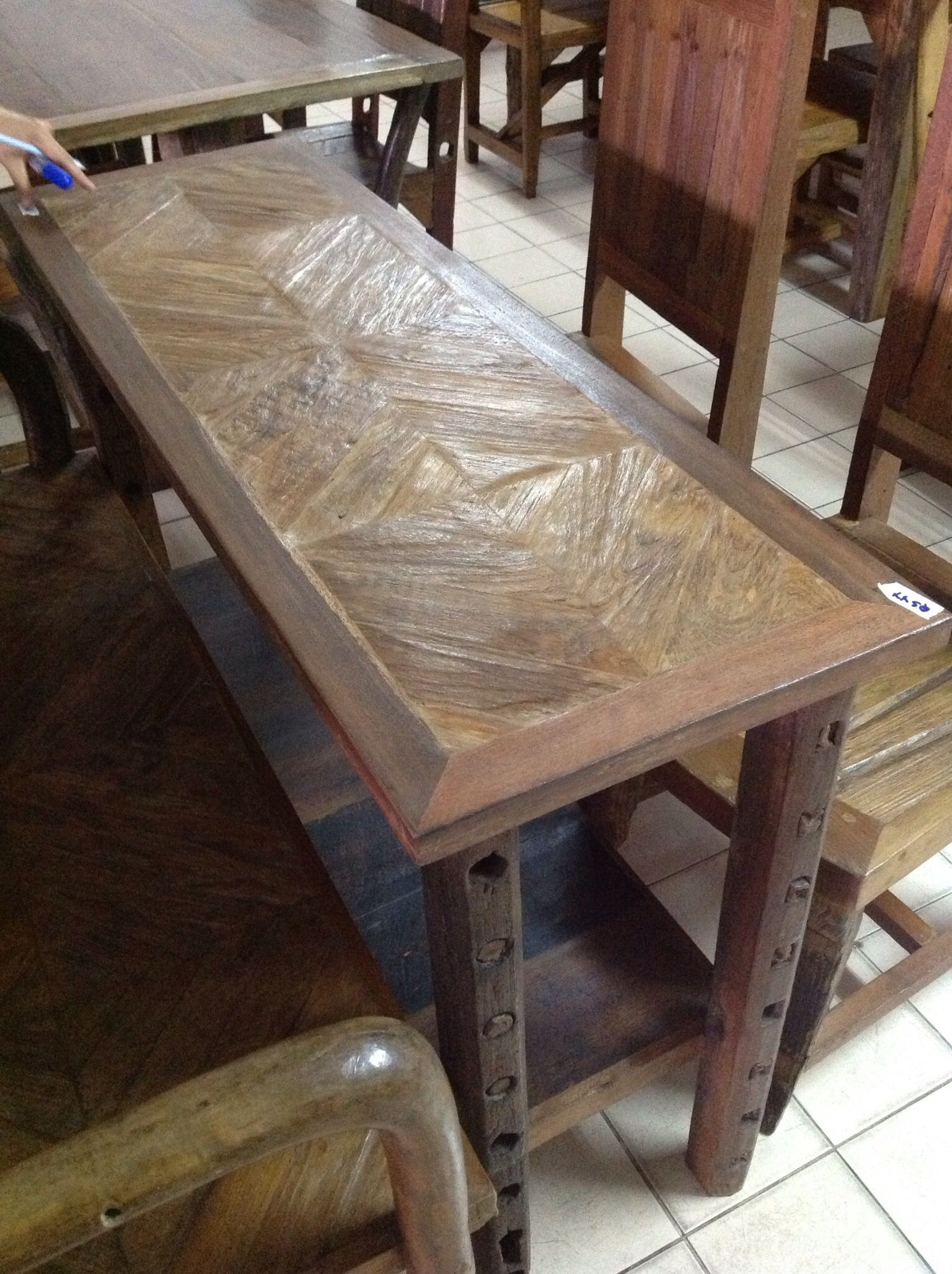 Handcrafted Teak Wood Chevron Console Table From Chiang Mai