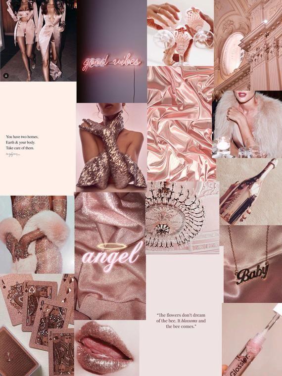 Boujee Rose Gold Designer art collage pack photo kit