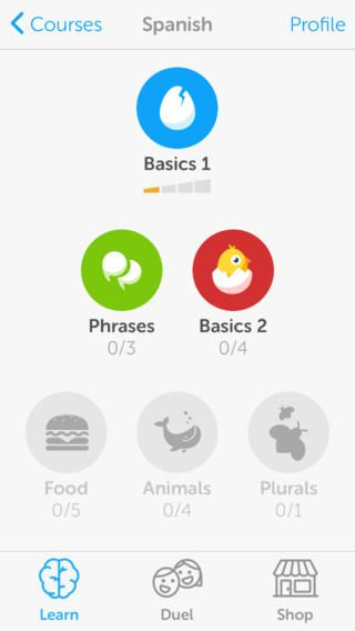 iPhone Screenshot 2 Learning languages, Duolingo, Learn