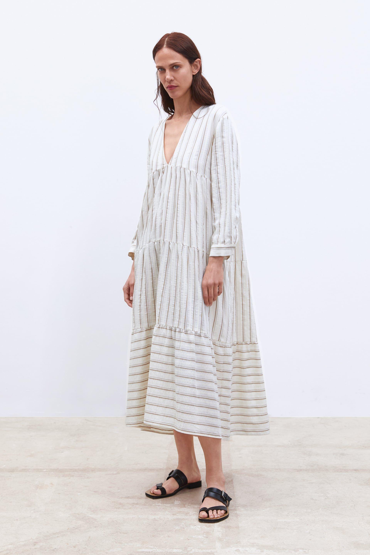 Striped Print Dress Striped Print Dresses Women Long Sleeve Dress Long Striped Dress