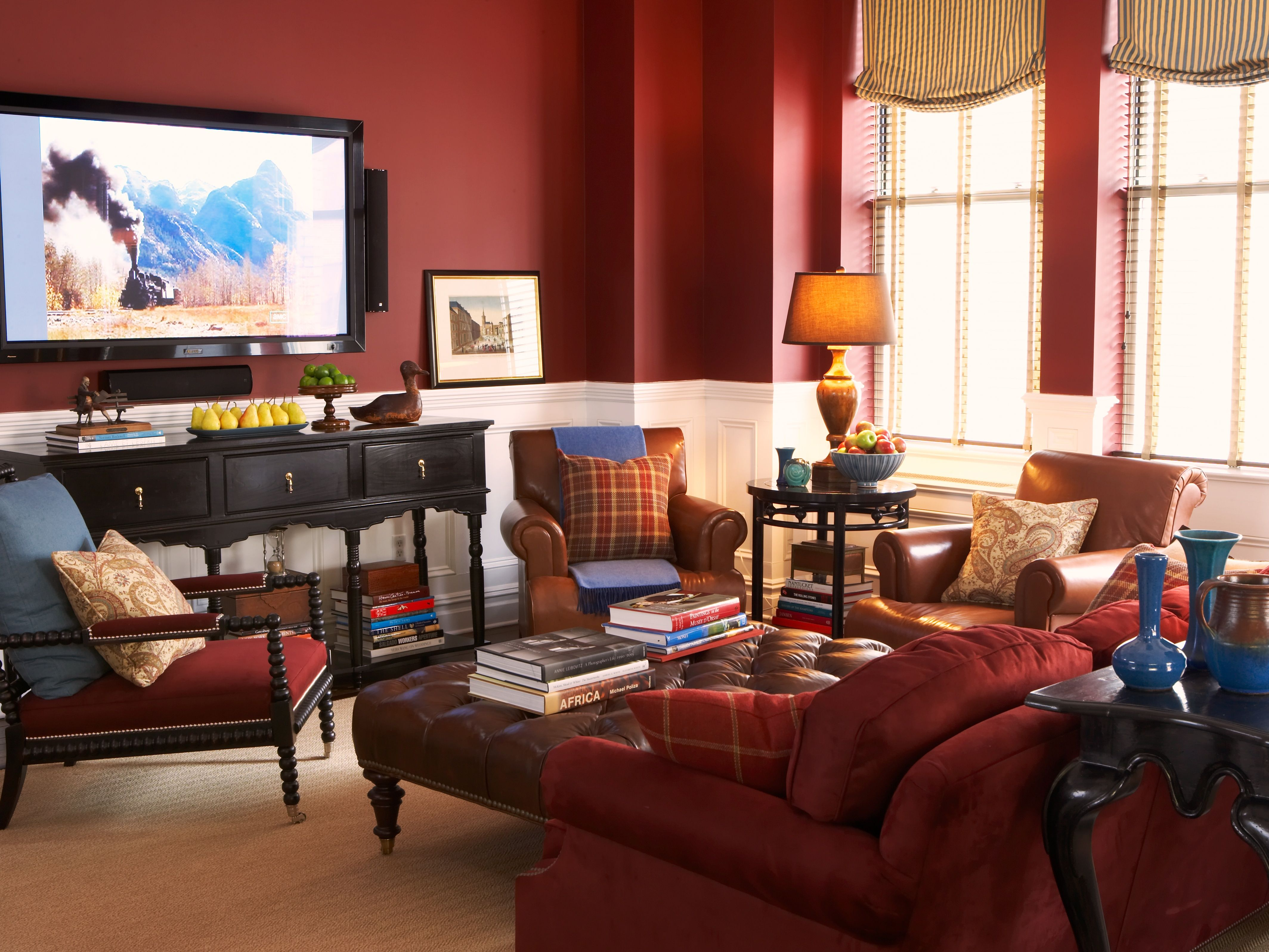 Traditional Transitional Dark Red Living Room With Blues Scott Sanders