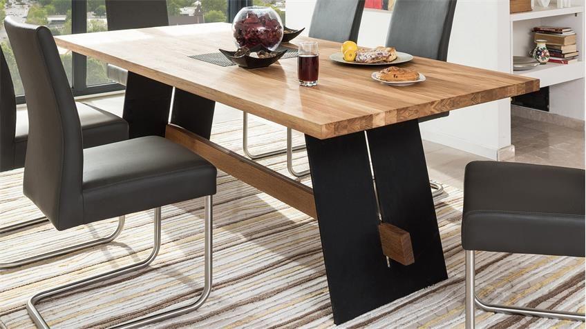 Esstisch Aladin Tisch Eiche Natur Und Schwarz 200x100 Cm In 2020