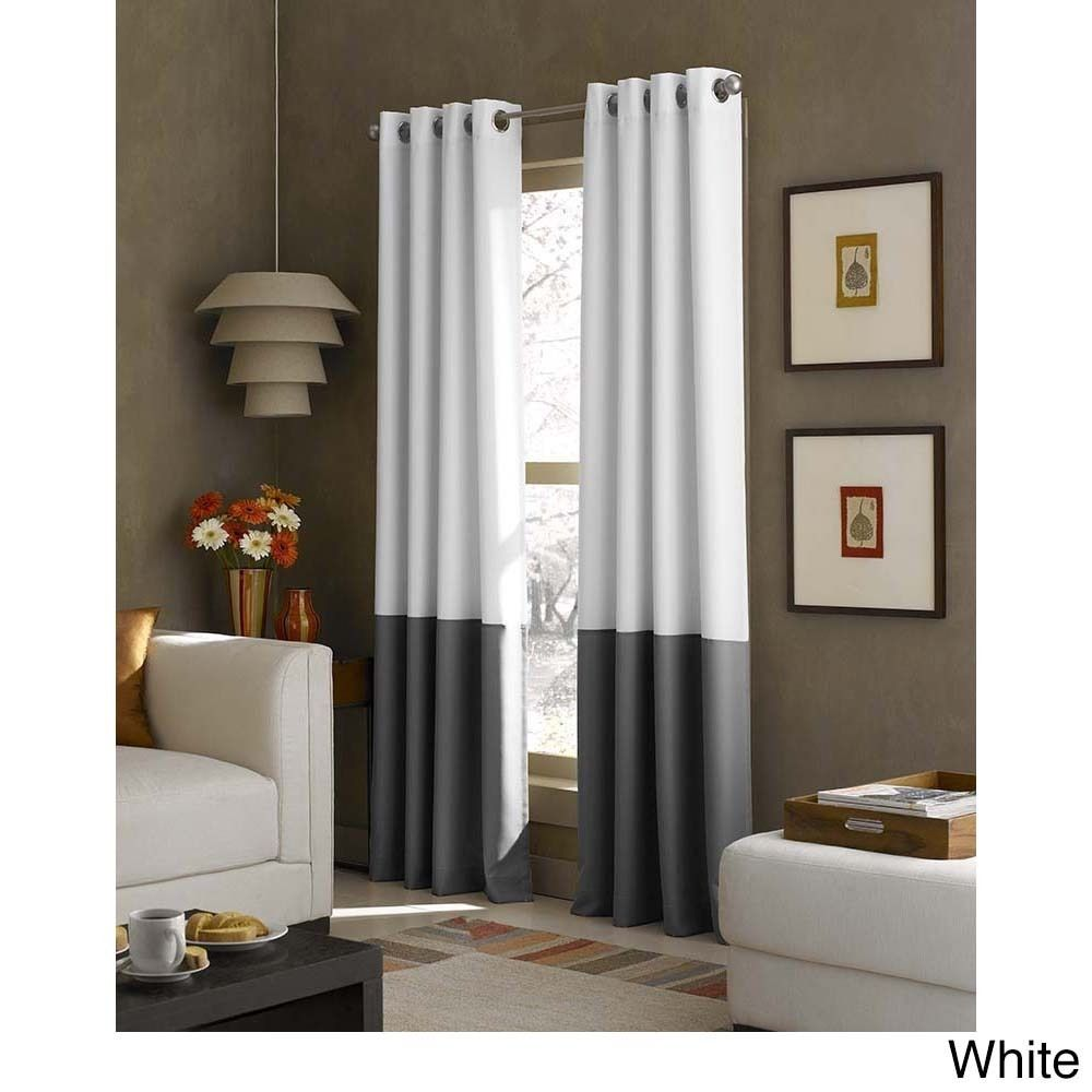 Kendall Color Block Grommet Curtain Panel White 108 Inch