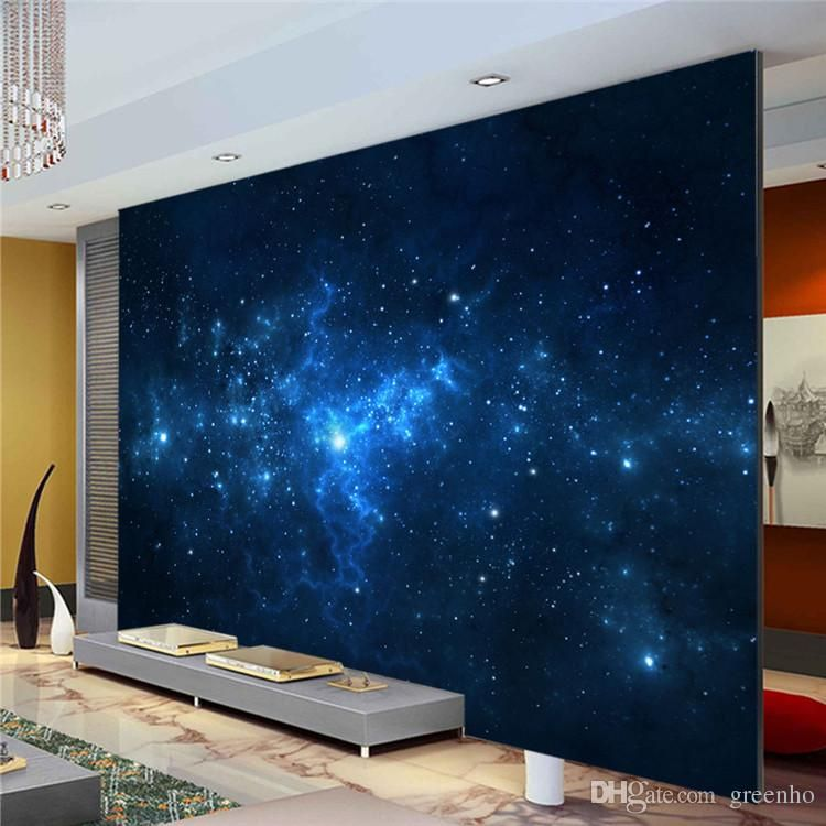 Blue Galaxy Wall Mural Beautiful Nightsky Photo Wallpaper Custom Silk Wallpaper Art Painting