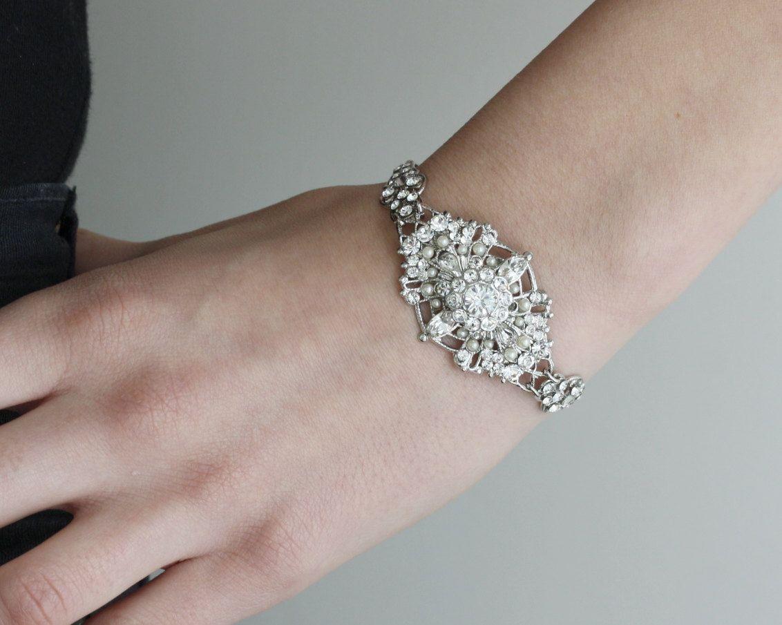 Bridal Bracelet, Vintage Style Pearl and Rhinestone Cuff Bracelet, Art Deco Wedding Jewelry, MARCELLA CUFF. $80.00, via Etsy.