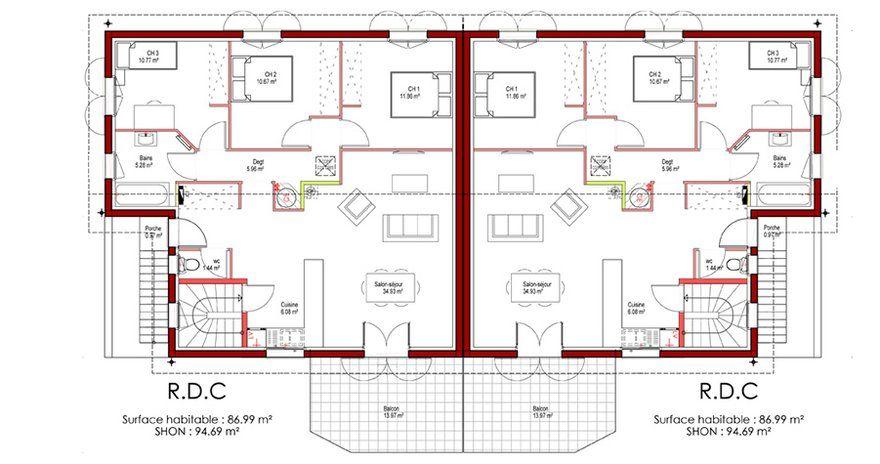 De chambres chacun en sous sol de with plan de maison 200m2 for Plan de maison 200m2