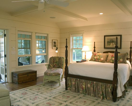 Beach Bedrooms Design..love the flat bead board & screened in porch
